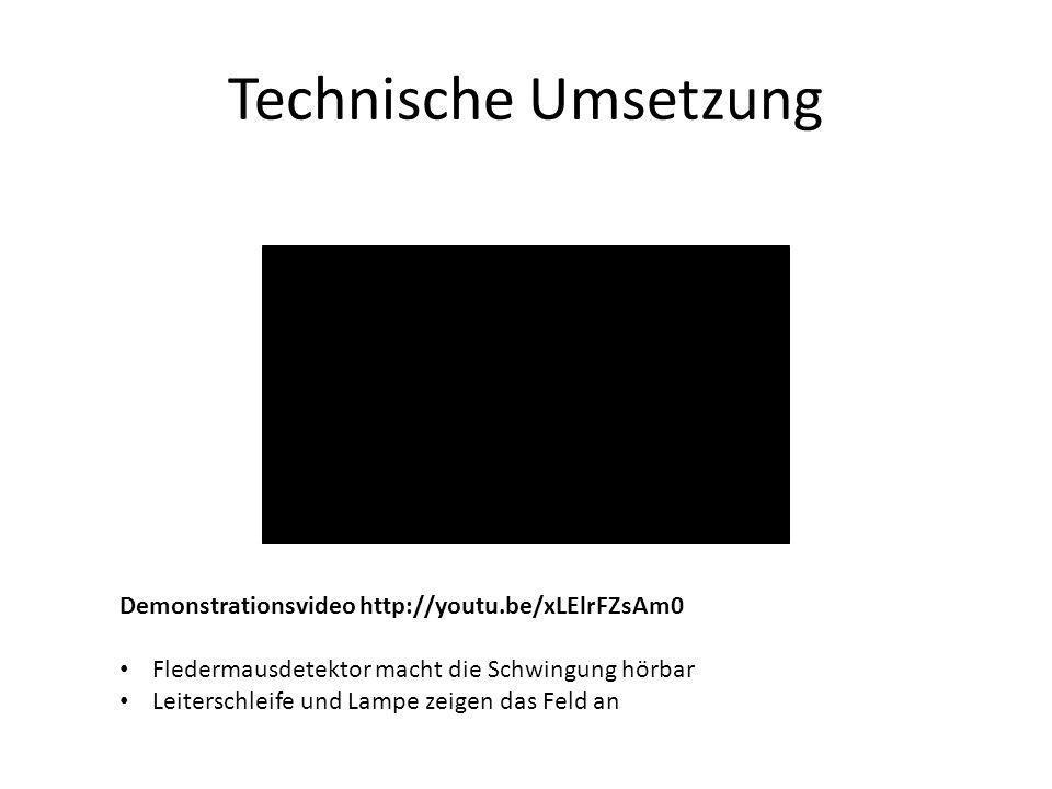 Demonstrationsvideo http://youtu.be/xLElrFZsAm0 Fledermausdetektor macht die Schwingung hörbar Leiterschleife und Lampe zeigen das Feld an
