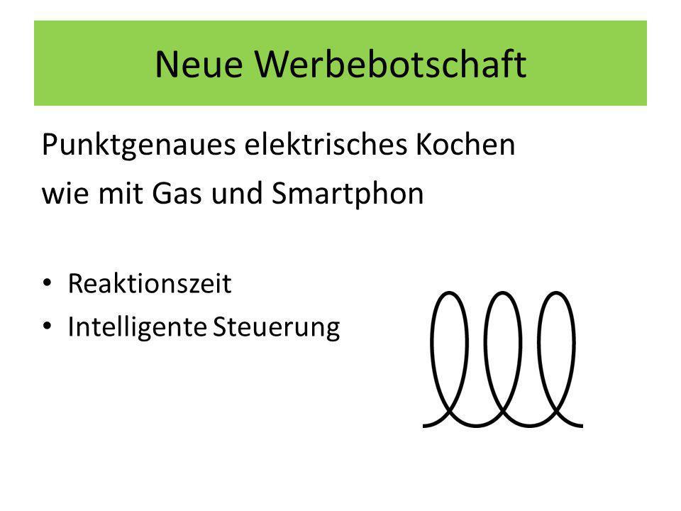 Neue Werbebotschaft Punktgenaues elektrisches Kochen wie mit Gas und Smartphon Reaktionszeit Intelligente Steuerung
