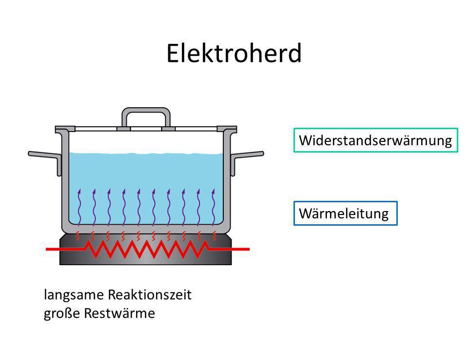 Elektroherd Wärmeleitung langsame Reaktionszeit große Restwärme Widerstandserwärmung