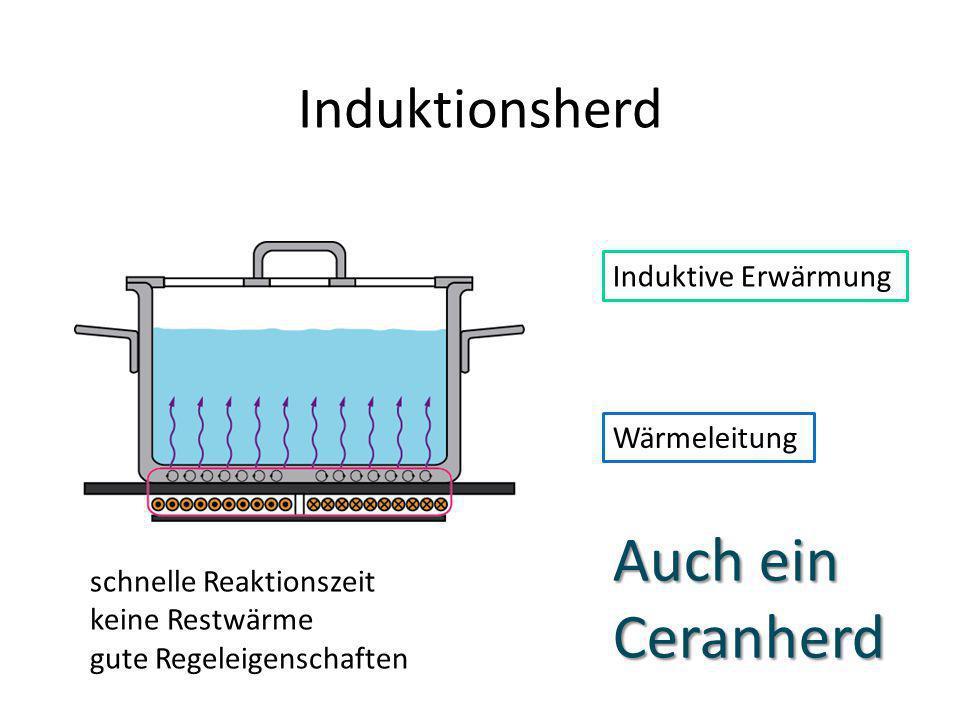 Induktionsherd Wärmeleitung schnelle Reaktionszeit keine Restwärme gute Regeleigenschaften Induktive Erwärmung Auch ein Ceranherd