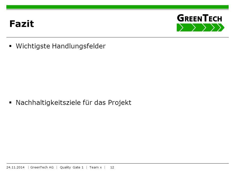 12 Fazit  Wichtigste Handlungsfelder  Nachhaltigkeitsziele für das Projekt 24.11.2014 | GreenTech AG | Quality Gate 1 | Team x |