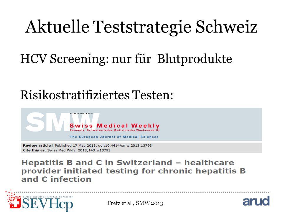 Aktuelle Teststrategie Schweiz HCV Screening: nur für Blutprodukte Risikostratifiziertes Testen: Fretz et al, SMW 2013