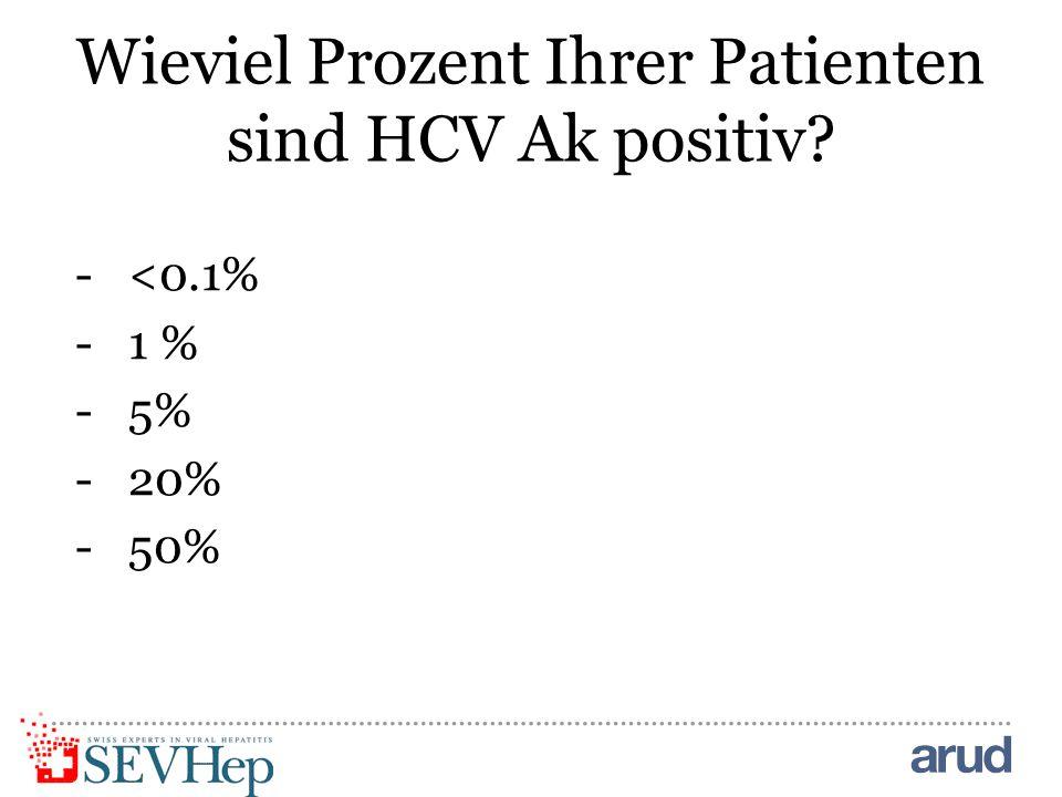 Wieviel Prozent Ihrer Patienten sind HCV Ak positiv? -<0.1% -1 % -5% -20% -50%