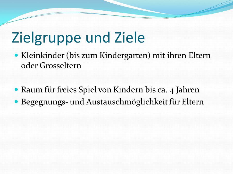 Zielgruppe und Ziele Kleinkinder (bis zum Kindergarten) mit ihren Eltern oder Grosseltern Raum für freies Spiel von Kindern bis ca. 4 Jahren Begegnung