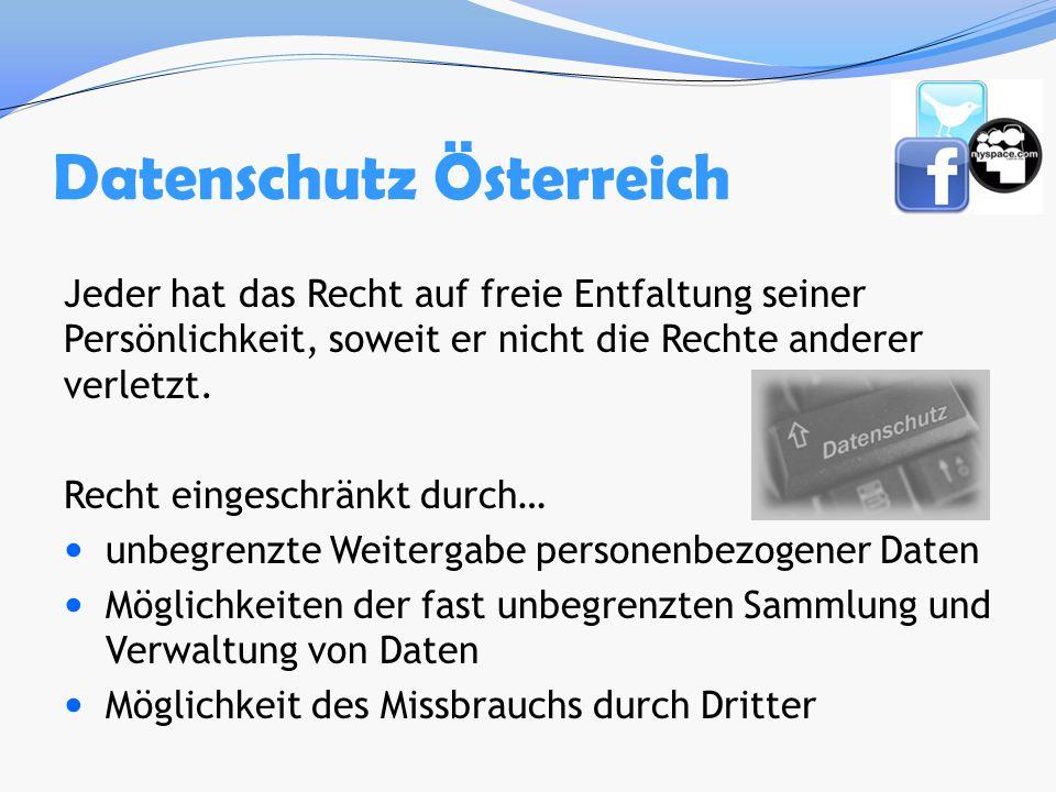 Datenschutz Österreich Jeder hat das Recht auf freie Entfaltung seiner Persönlichkeit, soweit er nicht die Rechte anderer verletzt. Recht eingeschränk