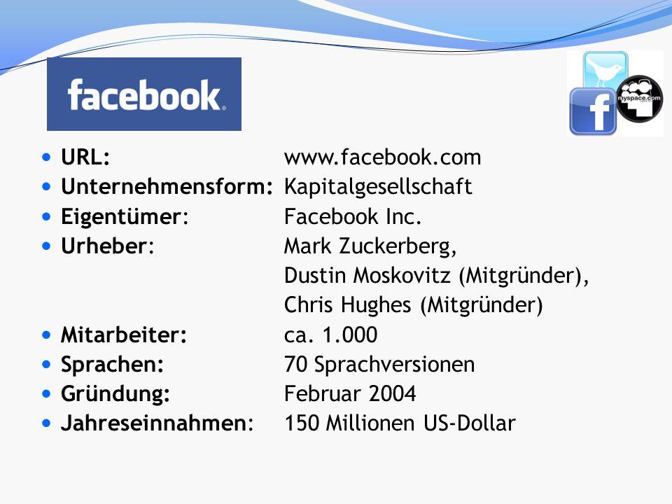 URL: www.facebook.com Unternehmensform:Kapitalgesellschaft Eigentümer: Facebook Inc. Urheber: Mark Zuckerberg, Dustin Moskovitz (Mitgründer), Chris Hu