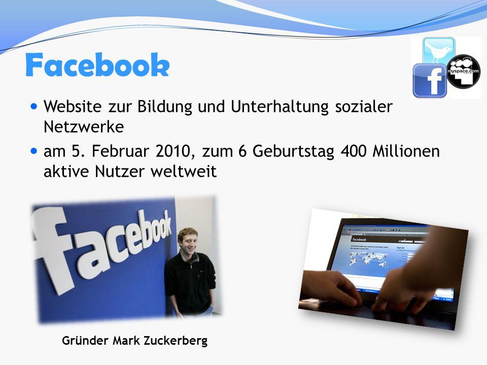 Website zur Bildung und Unterhaltung sozialer Netzwerke am 5. Februar 2010, zum 6 Geburtstag 400 Millionen aktive Nutzer weltweit Gründer Mark Zuckerb
