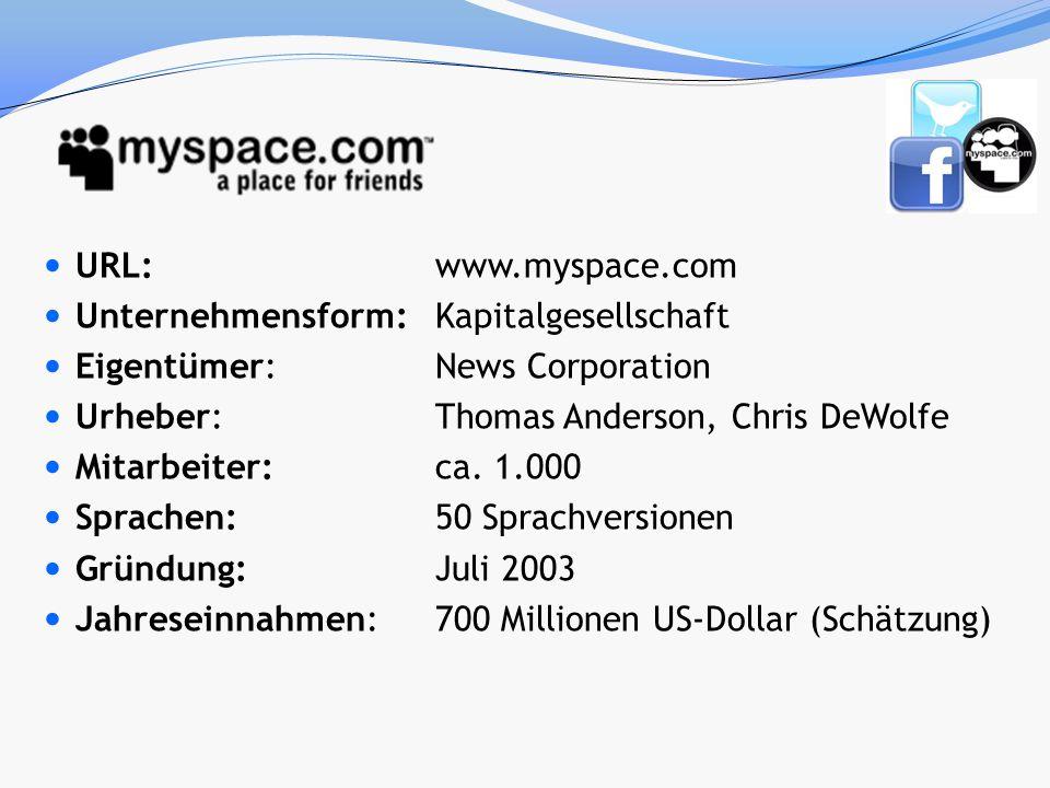 URL: www.myspace.com Unternehmensform:Kapitalgesellschaft Eigentümer: News Corporation Urheber: Thomas Anderson, Chris DeWolfe Mitarbeiter:ca. 1.000 S
