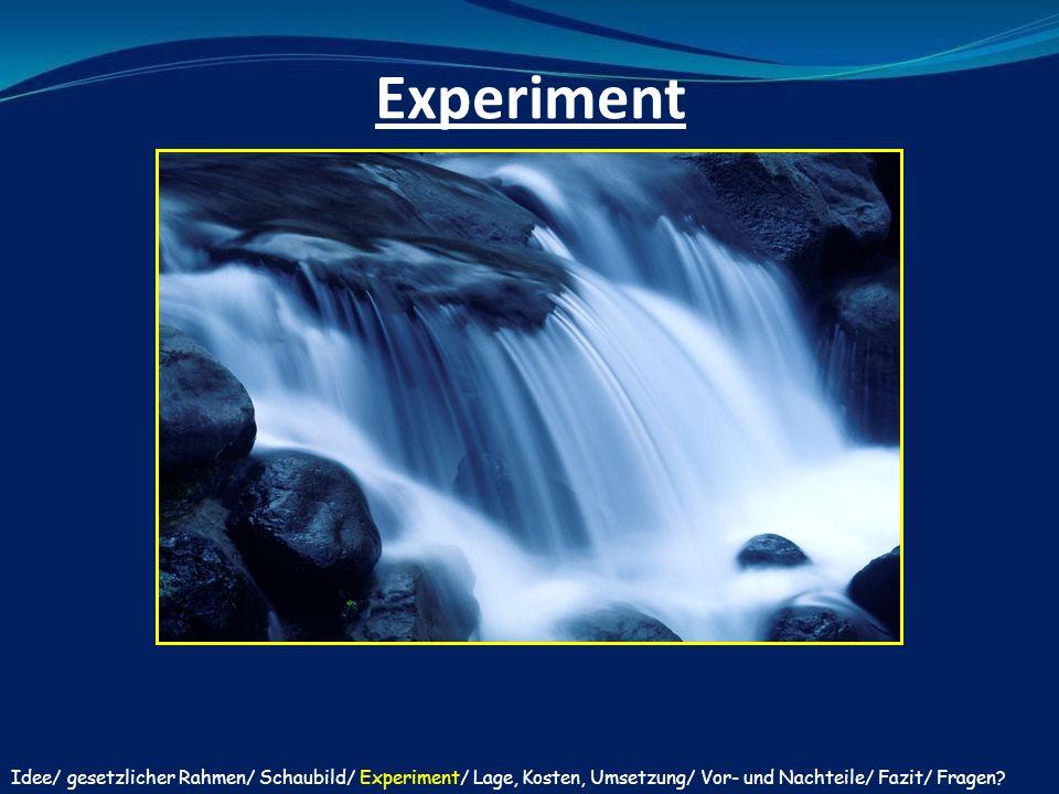 Experiment Idee/ gesetzlicher Rahmen/ Schaubild/ Experiment/ Lage, Kosten, Umsetzung/ Vor- und Nachteile/ Fazit/ Fragen?
