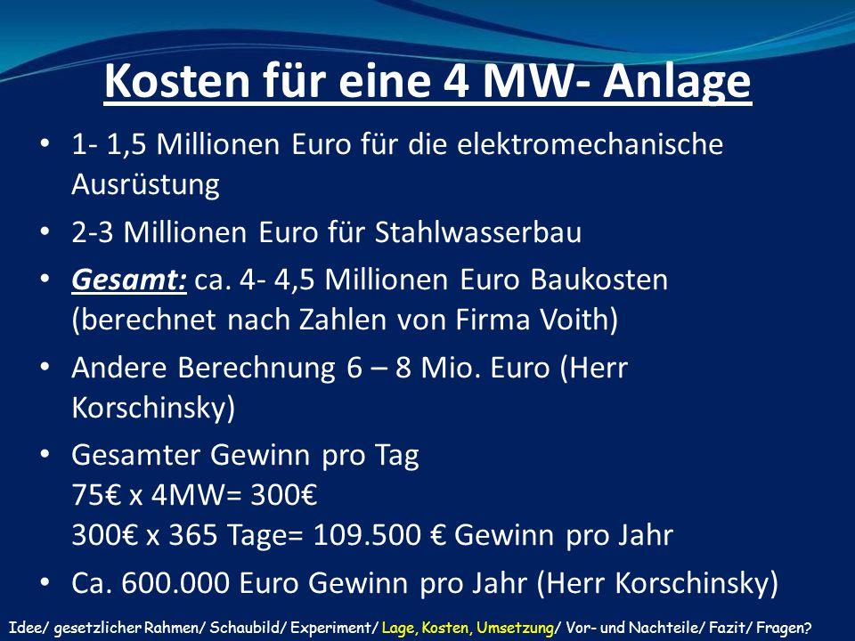 Kosten für eine 4 MW- Anlage 1- 1,5 Millionen Euro für die elektromechanische Ausrüstung 2-3 Millionen Euro für Stahlwasserbau Gesamt: ca. 4- 4,5 Mill