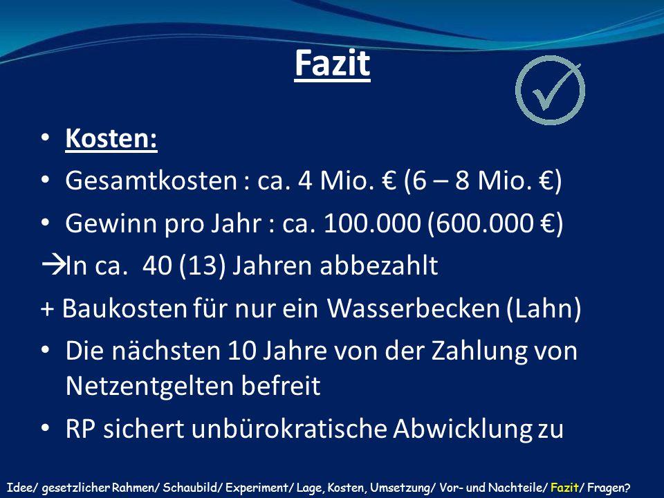 Fazit Kosten: Gesamtkosten : ca. 4 Mio. € (6 – 8 Mio. €) Gewinn pro Jahr : ca. 100.000 (600.000 €)  In ca. 40 (13) Jahren abbezahlt + Baukosten für n