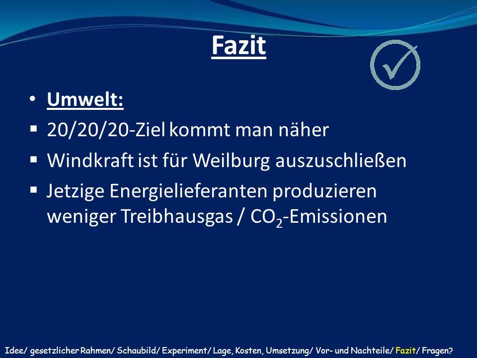 Umwelt:  20/20/20-Ziel kommt man näher  Windkraft ist für Weilburg auszuschließen  Jetzige Energielieferanten produzieren weniger Treibhausgas / CO