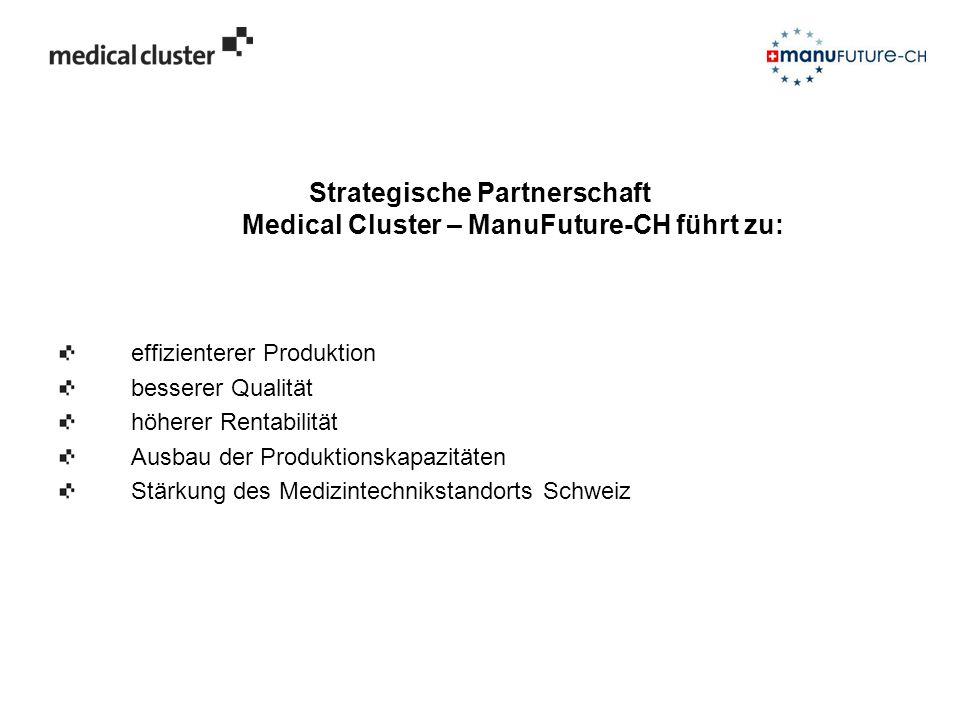 Strategische Partnerschaft Medical Cluster – ManuFuture-CH führt zu: effizienterer Produktion besserer Qualität höherer Rentabilität Ausbau der Produk