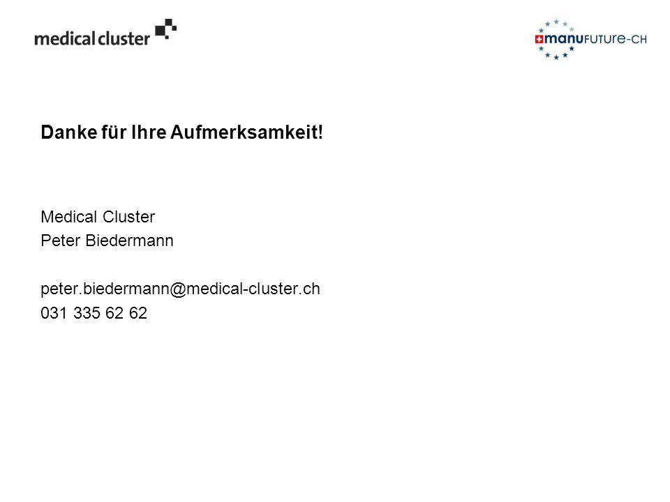Danke für Ihre Aufmerksamkeit! Medical Cluster Peter Biedermann peter.biedermann@medical-cluster.ch 031 335 62 62