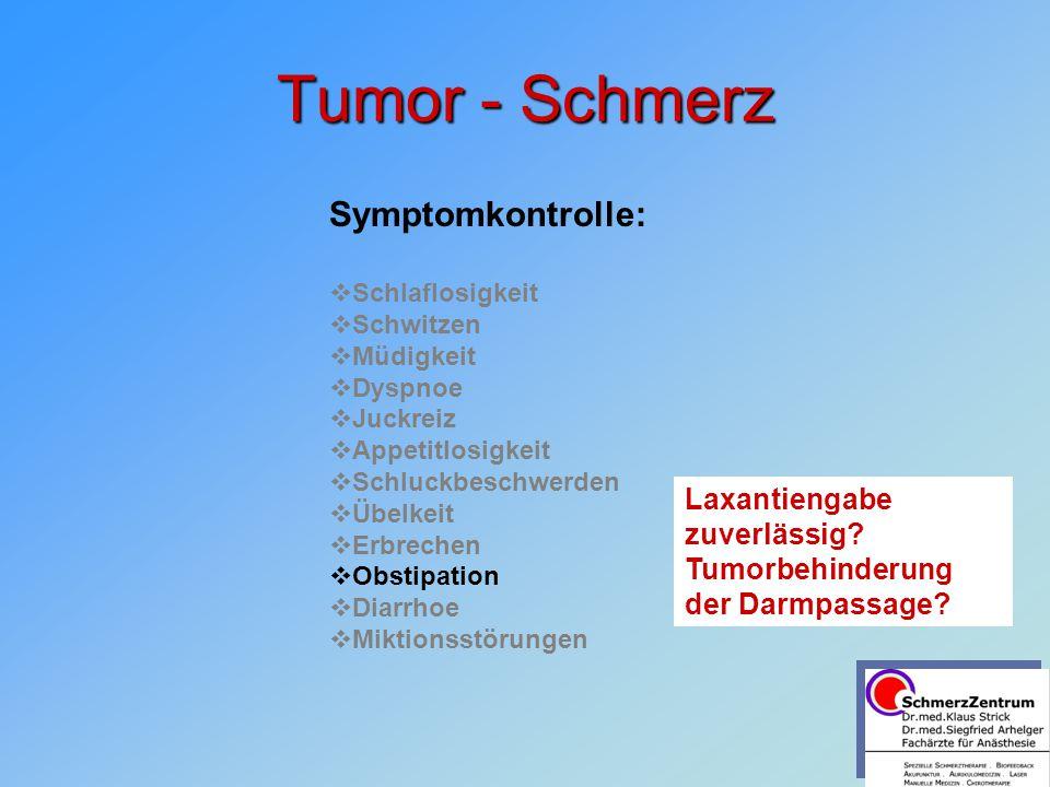 Tumor - Schmerz Symptomkontrolle:   Schlaflosigkeit   Schwitzen   Müdigkeit   Dyspnoe   Juckreiz   Appetitlosigkeit   Schluckbeschwerden