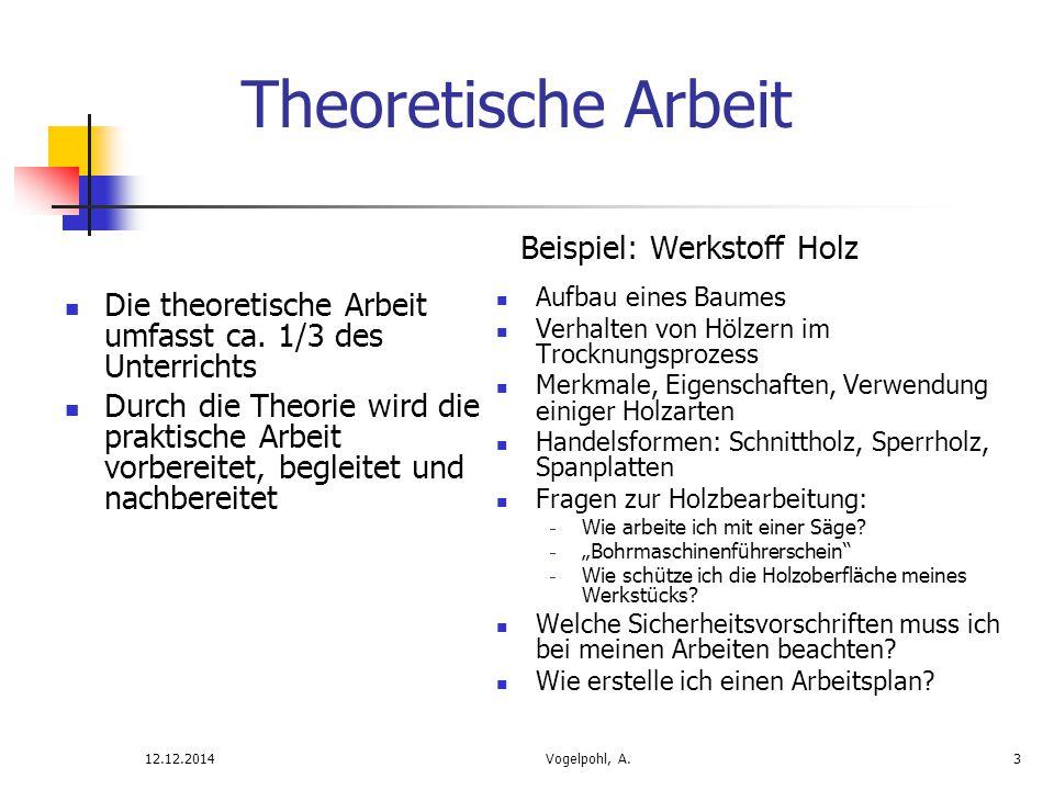Die theoretische Arbeit umfasst ca. 1/3 des Unterrichts Durch die Theorie wird die praktische Arbeit vorbereitet, begleitet und nachbereitet Beispiel: