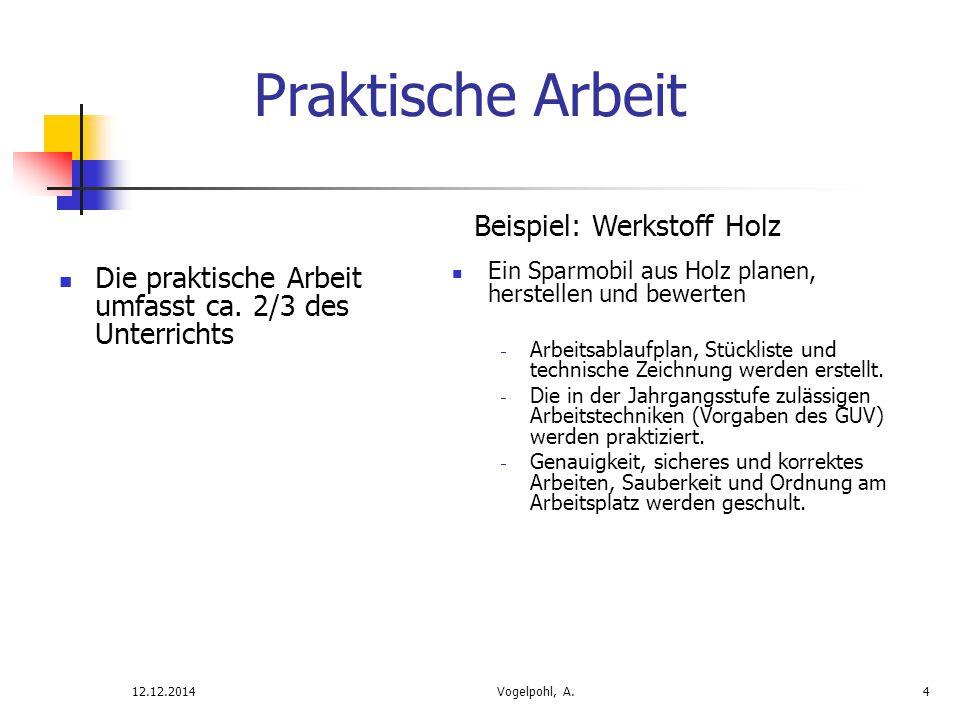 Die praktische Arbeit umfasst ca. 2/3 des Unterrichts 12.12.2014Vogelpohl, A.4 Praktische Arbeit Beispiel: Werkstoff Holz Ein Sparmobil aus Holz plane