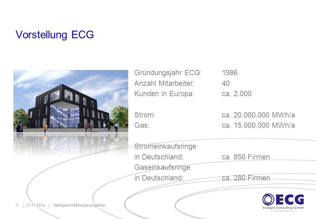 Vorstellung ECG 11.11.2014Intelligent mit Energie umgehen.3 Gründungsjahr ECG: 1986 Anzahl Mitarbeiter: 40 Kunden in Europa:ca. 2.000 Strom:ca. 20.000