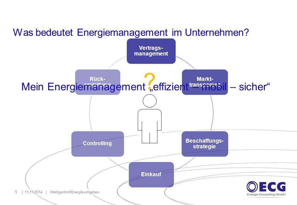Erfolgreiches Energiemanagement benötigt Informationen 11.11.2014Intelligent mit Energie umgehen.6 EEG i Energie- preis Strom- steuer Vertrags -laufzeit Börsen- produkte KWKG EEX Markt- entwick- lung Base, Peak NCG, GPL Take or Pay Energie- kosten Standorte Verbrauch Zähl- punkte Budget Ver- träge