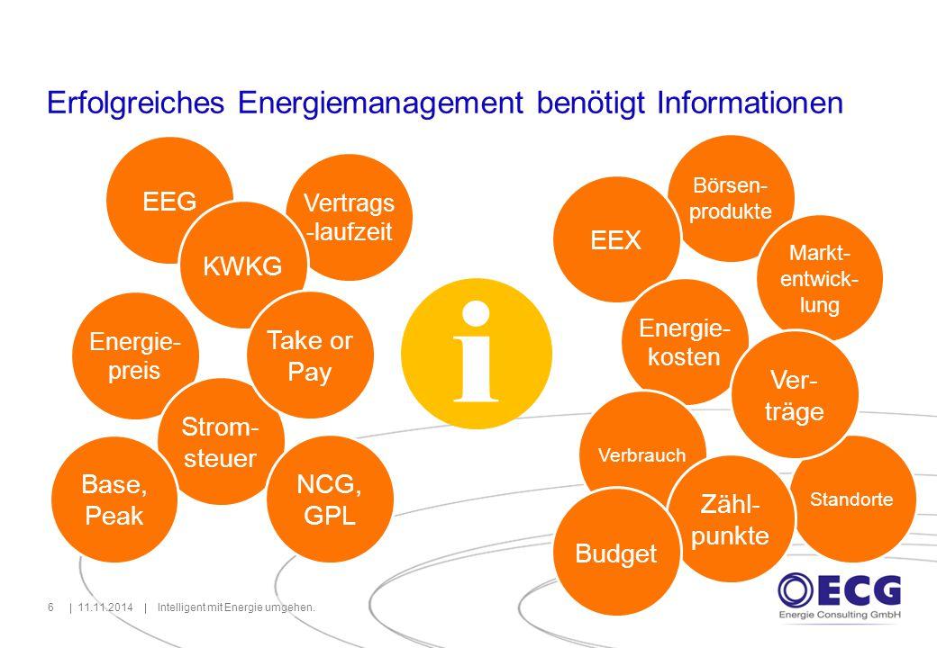 Erfolgreiches Energiemanagement benötigt Informationen 11.11.2014Intelligent mit Energie umgehen.6 EEG i Energie- preis Strom- steuer Vertrags -laufze
