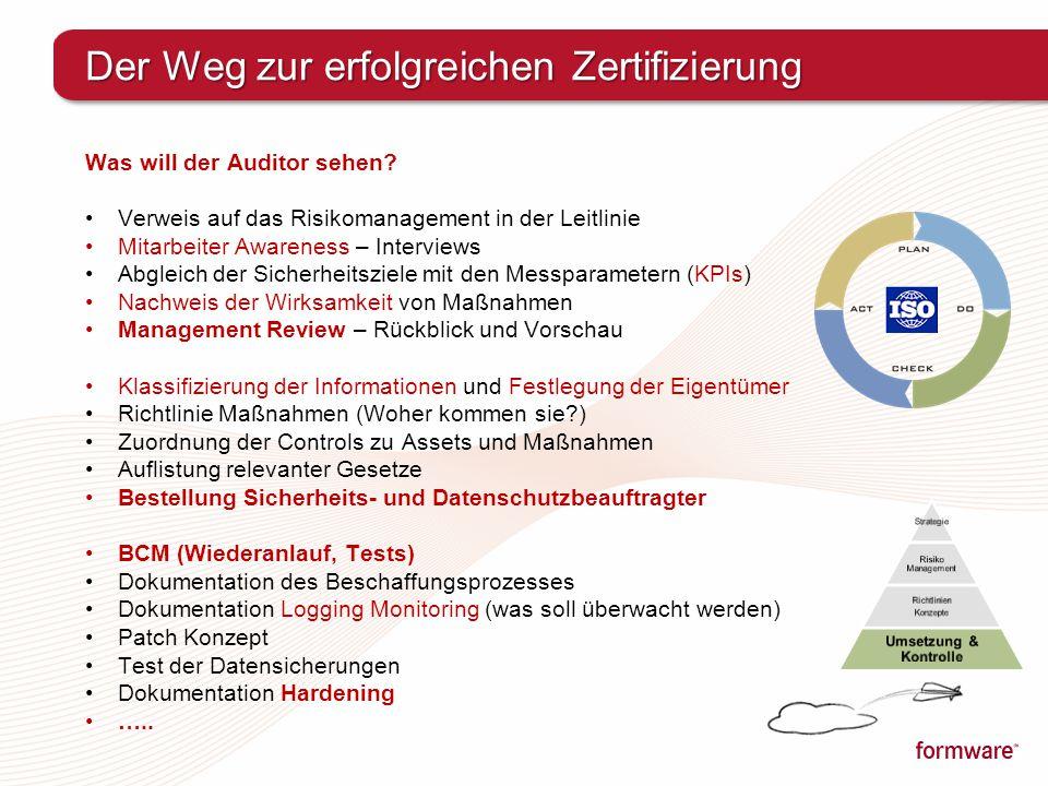 Der Weg zur erfolgreichen Zertifizierung Was will der Auditor sehen? Verweis auf das Risikomanagement in der Leitlinie Mitarbeiter Awareness – Intervi