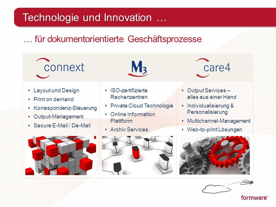 … für dokumentorientierte Geschäftsprozesse Technologie und Innovation … Layout und Design Print on demand Korrespondenz-Steuerung Output-Management S