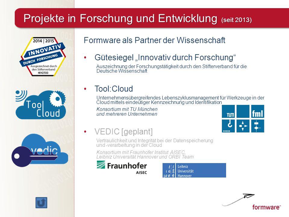 """Formware als Partner der Wissenschaft Gütesiegel """"Innovativ durch Forschung"""" Auszeichnung der Forschungstätigkeit durch den Stifterverband für die Deu"""