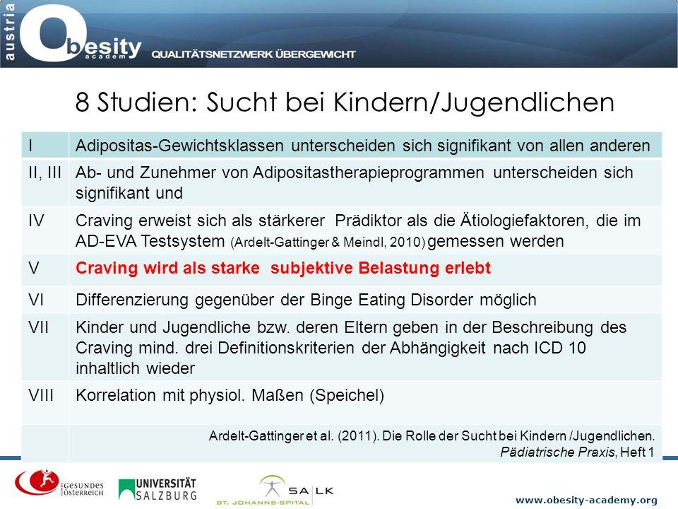 www.obesity-academy.org 8 Studien: Sucht bei Kindern/Jugendlichen IAdipositas-Gewichtsklassen unterscheiden sich signifikant von allen anderen II, III