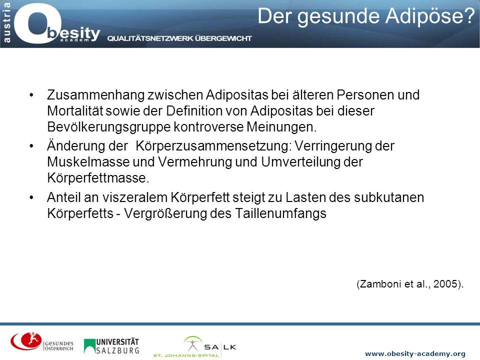www.obesity-academy.org Der gesunde Adipöse? Zusammenhang zwischen Adipositas bei älteren Personen und Mortalität sowie der Definition von Adipositas