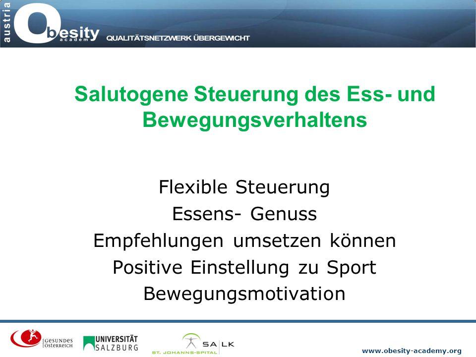 www.obesity-academy.org Salutogene Steuerung des Ess- und Bewegungsverhaltens Flexible Steuerung Essens- Genuss Empfehlungen umsetzen können Positive