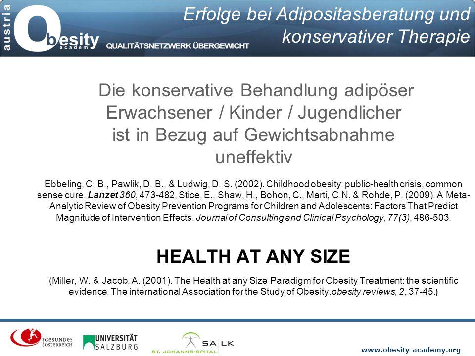 www.obesity-academy.org Die konservative Behandlung adipöser Erwachsener / Kinder / Jugendlicher ist in Bezug auf Gewichtsabnahme uneffektiv Ebbeling,