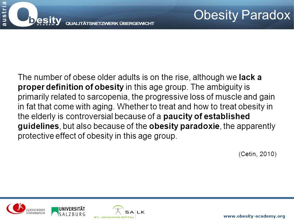 www.obesity-academy.org Adipositas und andere Süchte 0 1 2 3 4 Mean Abhängigkeiten Alkohol Rauchen Adipositas Drogen Marathon Normalgewicht Ardelt-Gattinger et.al 2000 a, b, 2002, 2011