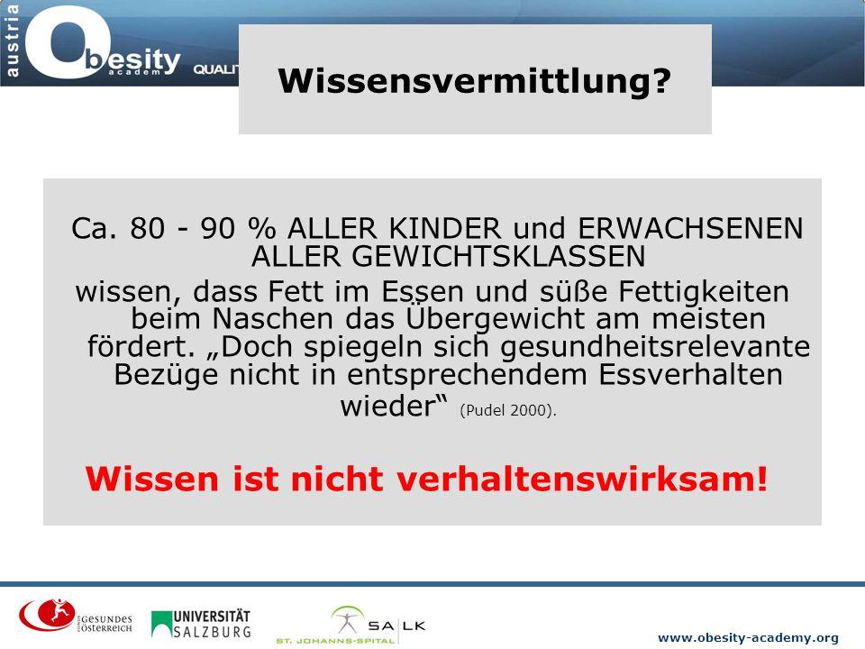 www.obesity-academy.org Wissensvermittlung? Ca. 80 - 90 % ALLER KINDER und ERWACHSENEN ALLER GEWICHTSKLASSEN wissen, dass Fett im Essen und süße Fetti