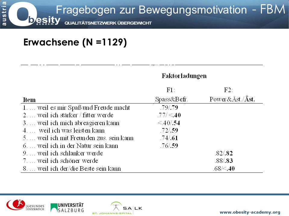 www.obesity-academy.org Fragebogen zur Bewegungsmotivation - FBM Erwachsene (N =1129) & Kinder/Jugendliche 1748).