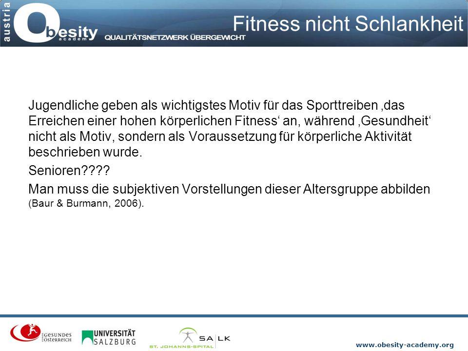 www.obesity-academy.org Fitness nicht Schlankheit Jugendliche geben als wichtigstes Motiv für das Sporttreiben 'das Erreichen einer hohen körperlichen