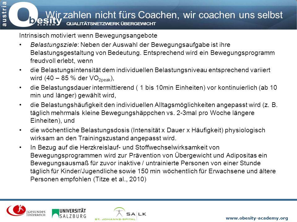 www.obesity-academy.org Wir zahlen nicht fürs Coachen, wir coachen uns selbst Intrinsisch motiviert wenn Bewegungsangebote Belastungsziele: Neben der
