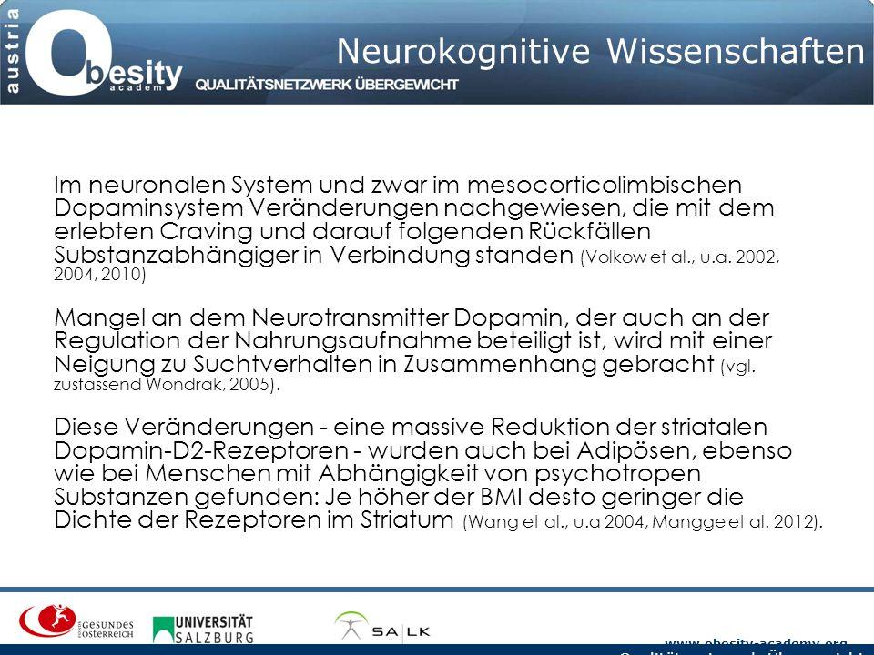 www.obesity-academy.org Qualitätsnetzwerk Übergewicht Neurokognitive Wissenschaften Im neuronalen System und zwar im mesocorticolimbischen Dopaminsyst