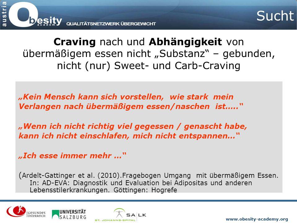"""www.obesity-academy.org Sucht """"Kein Mensch kann sich vorstellen, wie stark mein Verlangen nach übermäßigem essen/naschen ist….."""" """"Wenn ich nicht richt"""