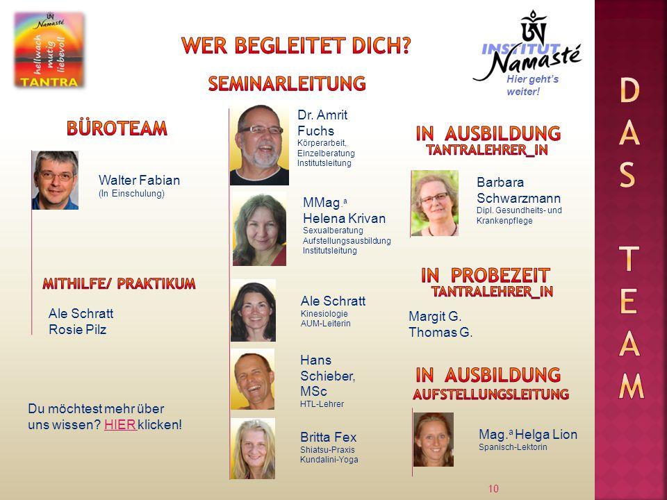 10 Walter Fabian (In Einschulung) Dr. Amrit Fuchs Körperarbeit, Einzelberatung Institutsleitung Ale Schratt Rosie Pilz MMag. a Helena Krivan Sexualber