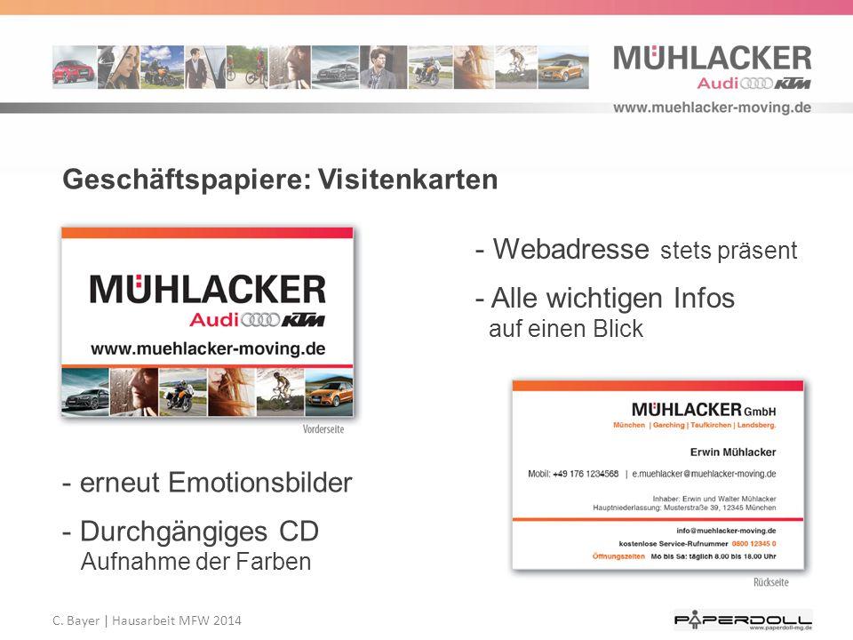 Geschäftspapiere: Visitenkarten - erneut Emotionsbilder - Durchgängiges CD Aufnahme der Farben - Webadresse stets präsent - Alle wichtigen Infos auf e