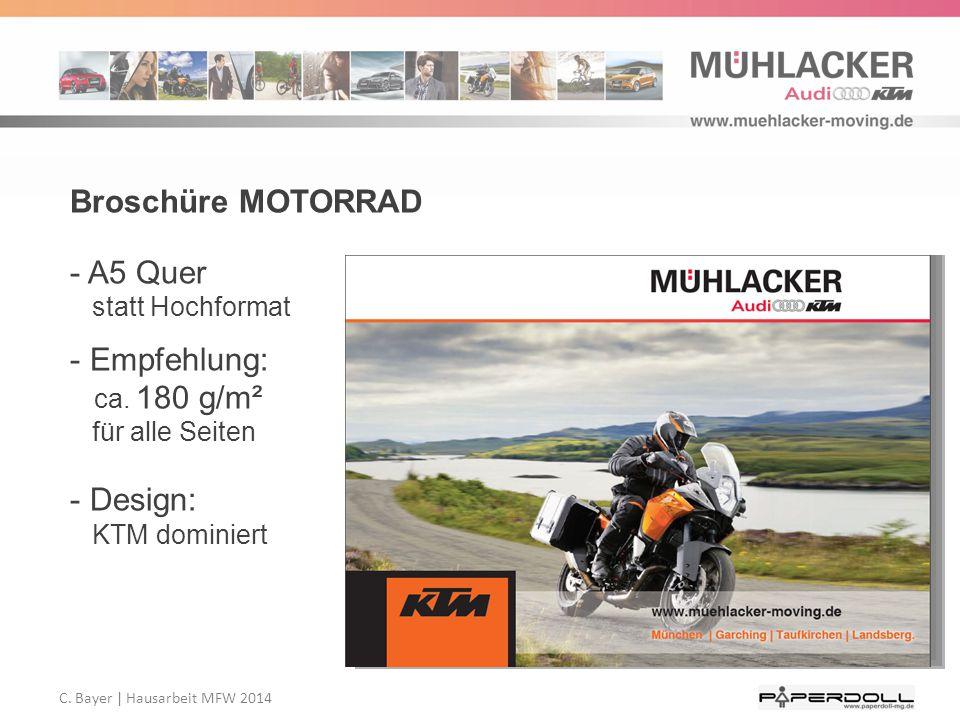 Broschüre MOTORRAD - A5 Quer statt Hochformat - Empfehlung: ca. 180 g/m² für alle Seiten - Design: KTM dominiert
