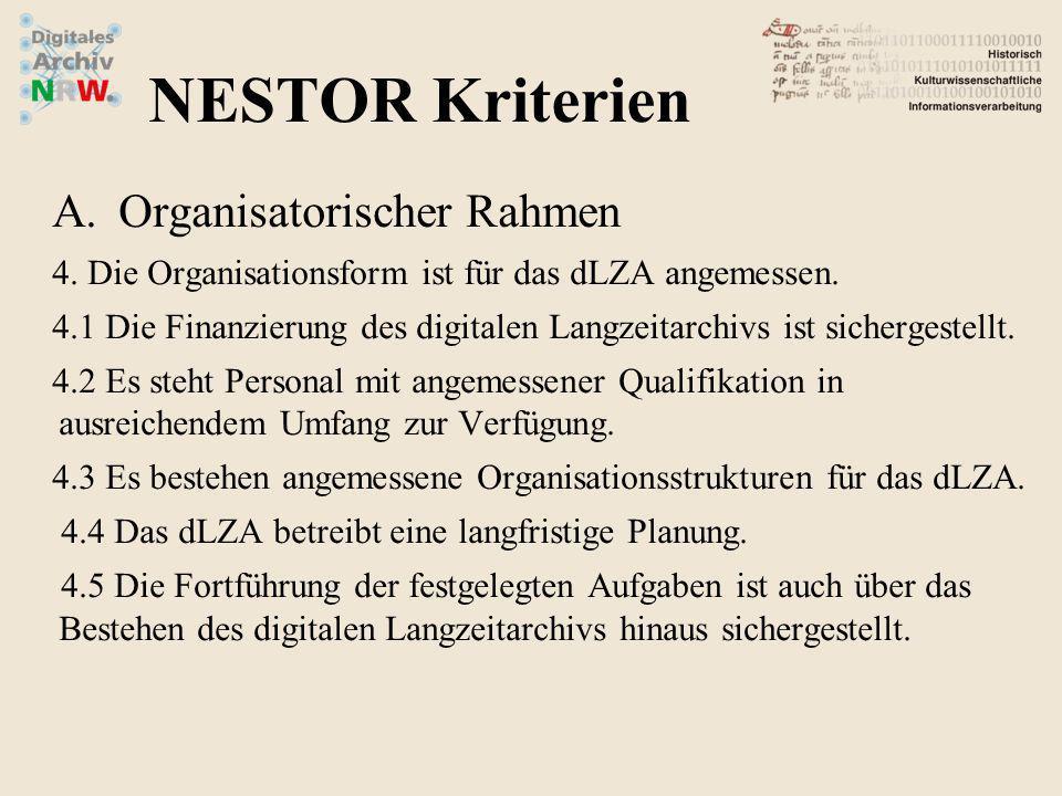 A.Organisatorischer Rahmen 4. Die Organisationsform ist für das dLZA angemessen. 4.1 Die Finanzierung des digitalen Langzeitarchivs ist sichergestellt