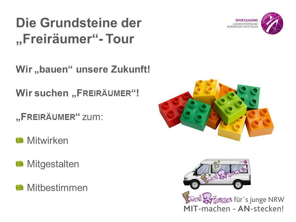 """Wir """"bauen"""" unsere Zukunft! Wir suchen """"F REIRÄUMER """"! """"F REIRÄUMER """" zum: Mitwirken Mitgestalten Mitbestimmen Die Grundsteine der """"Freiräumer""""- Tour"""
