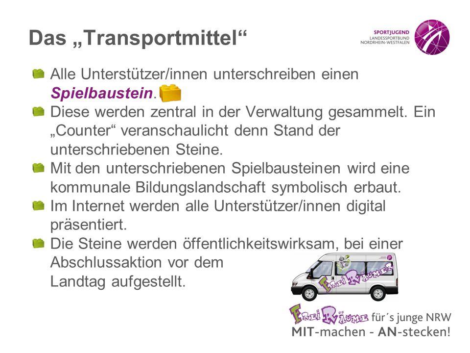"""Das """"Transportmittel Alle Unterstützer/innen unterschreiben einen Spielbaustein."""