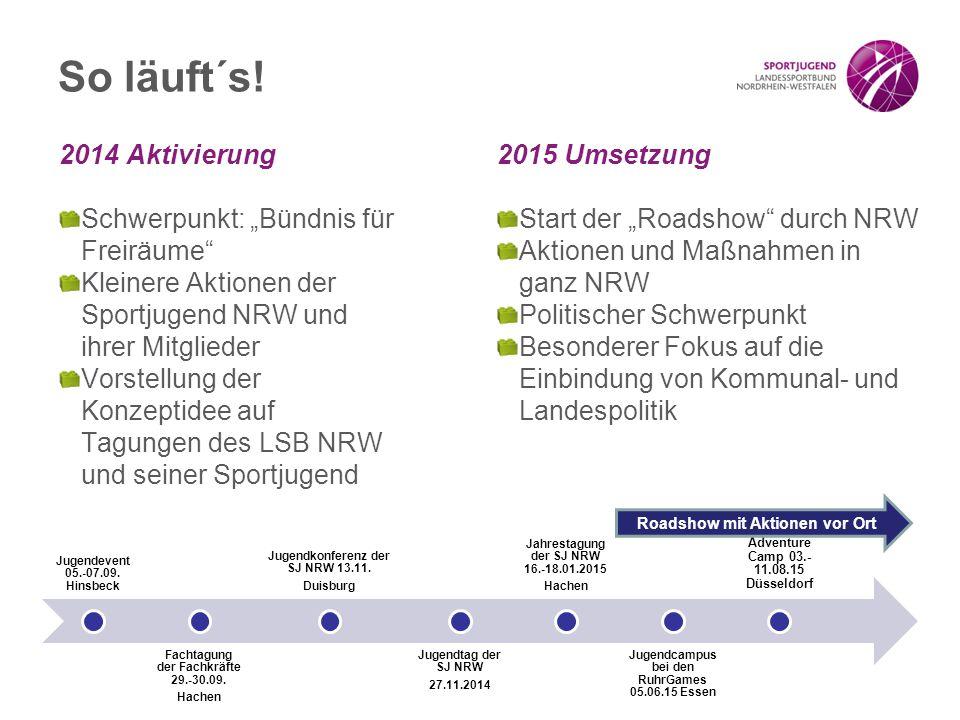 """So läuft´s! 2014 Aktivierung Schwerpunkt: """"Bündnis für Freiräume"""" Kleinere Aktionen der Sportjugend NRW und ihrer Mitglieder Vorstellung der Konzeptid"""