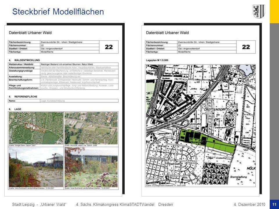 """Stadt Leipzig -11""""Urbaner Wald"""" 4. Sächs. Klimakongress KlimaSTADTWandel Dresden4. Dezember 2010 Steckbrief Modellflächen"""