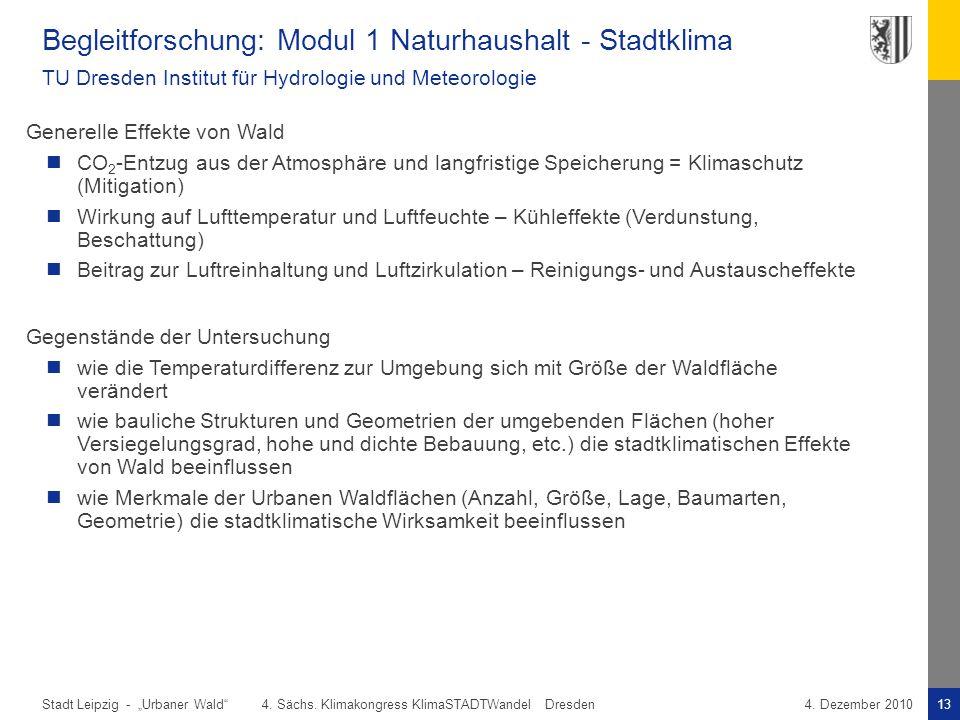 """Stadt Leipzig -13""""Urbaner Wald"""" 4. Sächs. Klimakongress KlimaSTADTWandel Dresden4. Dezember 2010 Begleitforschung: Modul 1 Naturhaushalt - Stadtklima"""