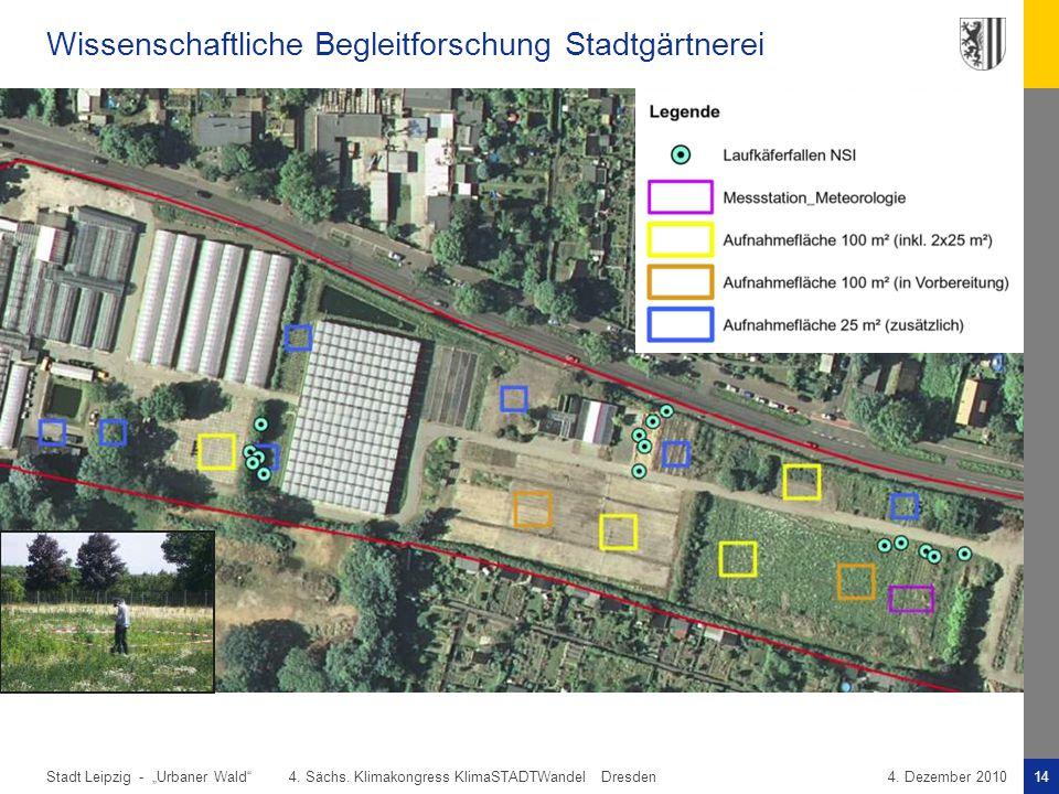 "Stadt Leipzig -14""Urbaner Wald"" 4. Sächs. Klimakongress KlimaSTADTWandel Dresden4. Dezember 2010 Wissenschaftliche Begleitforschung Stadtgärtnerei"