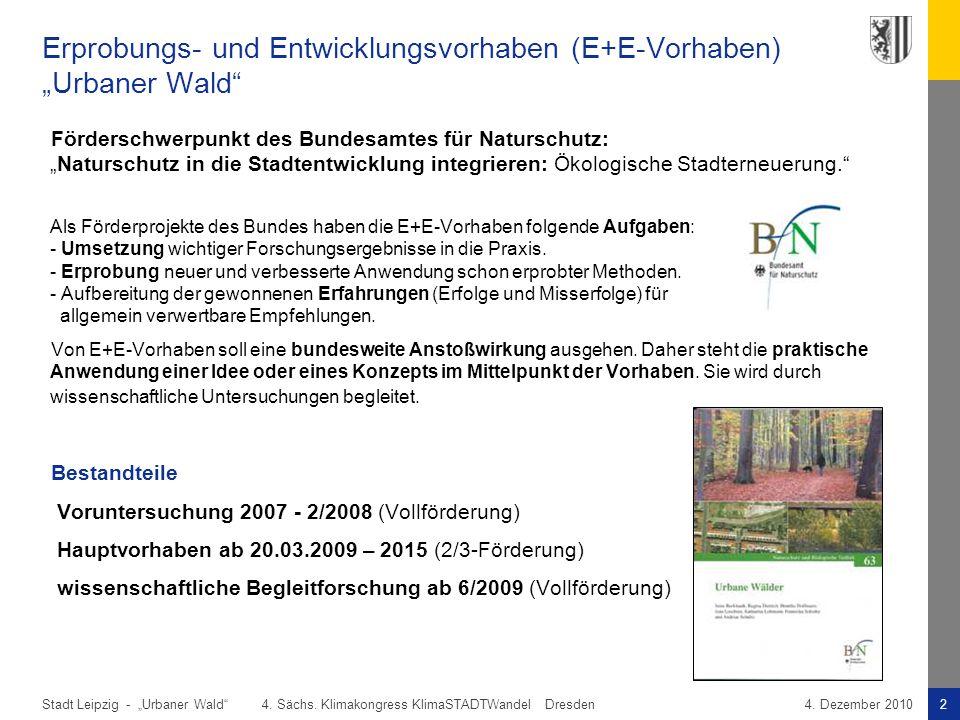 """Stadt Leipzig -2""""Urbaner Wald"""" 4. Sächs. Klimakongress KlimaSTADTWandel Dresden4. Dezember 2010 Erprobungs- und Entwicklungsvorhaben (E+E-Vorhaben) """"U"""