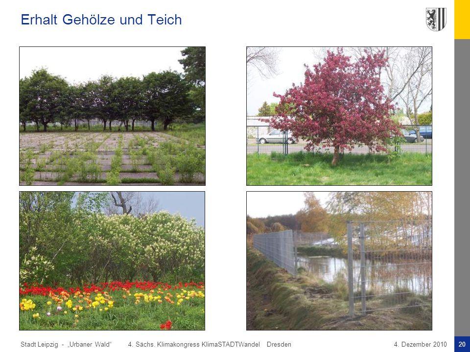 """Stadt Leipzig -20""""Urbaner Wald"""" 4. Sächs. Klimakongress KlimaSTADTWandel Dresden4. Dezember 2010 Erhalt Gehölze und Teich"""